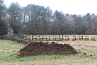 The staff at Historic Brattonsville works to preserve as many of the original foundations possible, including the ruins of an original domestic slave house seen here (photo: Oriana Gilmore).