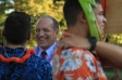 Winthrop President Dan Mahony (center) was a surprise guest at the annual BCM luau Aug. 29, which is intended to bring students together and promote the ministry (photo: Sarah Summerall).