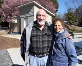 Rich (Left) and Val Guicheteau, who have lived in the area for 42 years, say the new inclusive playground at Trailhead Park in Tega Cay will be a great addition to their neighborhood (photo: Ashley Holbert).