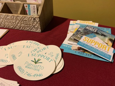 """The Palmetto Women's Center table at the screening of the controversial anti-abortion film """"Unplanned"""" at Dina's Place on the Winthrop campus (photo: Raili Burton)."""
