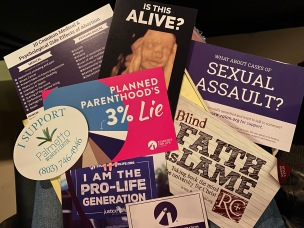 "There were many pro-life handouts available at the screening of the controversial anti-abortion film ""Unplanned,"" which was sponsored by Ratio Christi at Winthrop, Students for Life, the Winthrop Newman Catholic Community and the Rock Hill-based Palmetto Women's Center (photo: Raili Burton)."