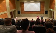 """A representative from the Rock Hill-based Palmetto Women's Center speaks after the screening of the controversial anti-abortion film """"Unplanned"""" Jan. 27 at Dina's Place on the Winthrop campus (photo: Raili Burton)."""