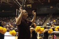 Douglas Presley directs the Winthrop Screamin' Eagles Pep Band during a men's basketball game against UNC Asheville Feb. 1. (photo: Tate Walden).