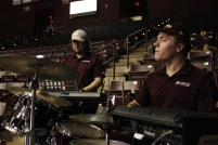 Members of the Winthrop Screamin' Eagles Pep Band perform during a men's basketball game against UNC Asheville Feb. 1. (photo: Tate Walden).