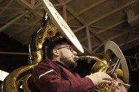 Sophomore David Lindsey, a member of the Winthrop Screamin' Eagles Pep Band, performs during a men's basketball game against UNC Asheville Feb. 1. (photo: Tate Walden).