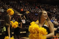 Members of the Winthrop Spirit Squad perform, along with the pep band, during a men's basketball game against UNC Asheville Feb. 1. (photo: Tate Walden).