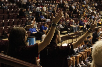 Members of the Winthrop Screamin' Eagles Pep Band lead a cheer during a men's basketball game against UNC Asheville Feb. 1. (photo: Tate Walden).