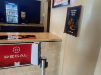 The Regal Manchester movie theatre in Rock Hill, S.C. has posted signs and hand sanitizer around and inside the theater to, in order to help prevent spread of the coronavirus (photo: Jendaya Fleming).
