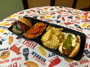 "A recent ""billionaire burgers"" pop-up, which featured half-pound hamburgers and hot dogs that are not typically available the The Grill in Markley's, was well received, according to Dining Services staff (photo: Anika Riley)."