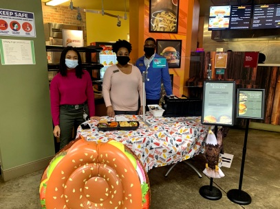 Winthrop Dining Services marketing specialist Aba Hutchison (left), catering manager Jasmine McDaniel (center) and retail manager O'Bryan Warren are just a few of the faces behind the creation of the pop-up menu events (photo: Anika Riley).