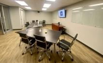 Large conference rooms are equipped for virtual and in-person meetings on the bottom floor of the new Gravity Center facility in Rock Hill (photo: JaKayla Cornish).