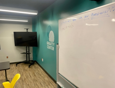 Classrooms in the new Gravity Center facility in Rock Hill are equipped with whiteboards and television screens for entrepreneurs to utilize (photo: JaKayla Cornish).