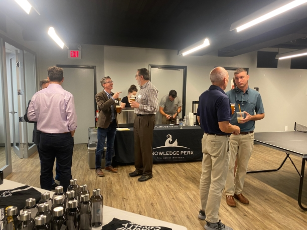 Guests meet in the basement common area of the new Gravity Center facility in Rock Hill before the ribbon cutting ceremony on Sept. 9 (photo: JaKayla Cornish).