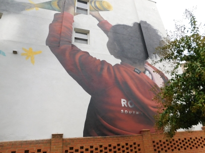 """Darion Fleming, who has worked with organizations such as Bank of America and NASCAR, created """"Dreamer"""" as a part of the Mural Mile. """"Dreamer"""" is located at Overhead Station at 212 E. Main St. in Rock Hill (photo: Christian Smith)."""