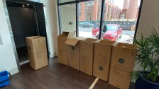 Some of these boxes contained remnants of the packing containing the late-arriving furniture at The Nest, including desks, coffee tables and barstools (photo: Gabe Corbin).