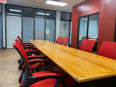 The new Gravity Center building features many office and meeting spaces for rent, including this co-work space reserved by the Insignia Group on level two of the facility (photo: JaKayla Cornish).